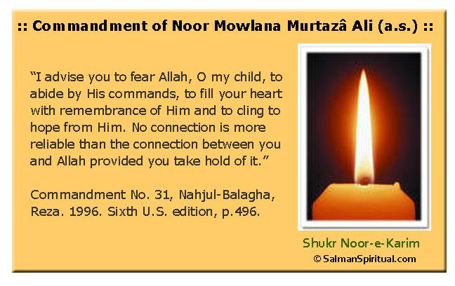 Commandments of Hazrat Ali (a.s.)