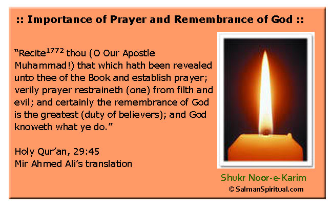 Importance of Prayer and Remembrance of God